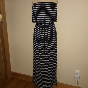 J.Crew Factory Navy and White Maxi Dress